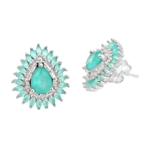 10.61 cts Aqua Green Chalcedony, White Topaz Solid .925 Silver Fine Stud Earrings - BELLADONNA