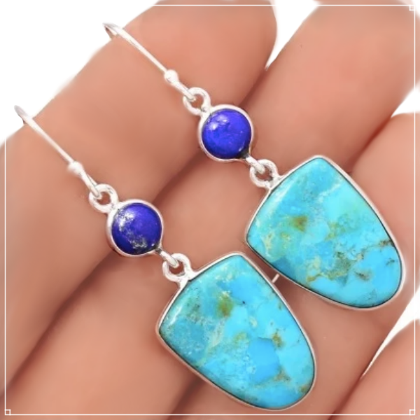 Natural Sleeping Beauty Turquoise, Lapis Lazuli Gemstone .925 Sterling Silver Earrings - BELLADONNA