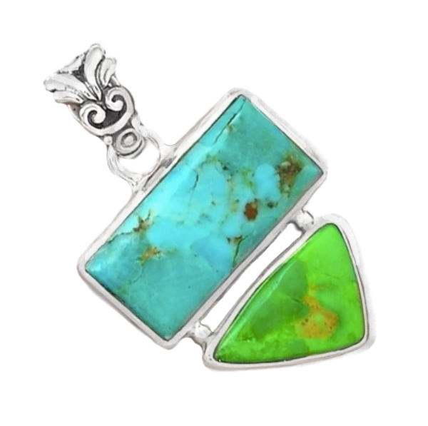 Natural Sleeping Beauty Turquoise, Australian Gaspeite Solid .925 Sterling Silver Pendant - BELLADONNA