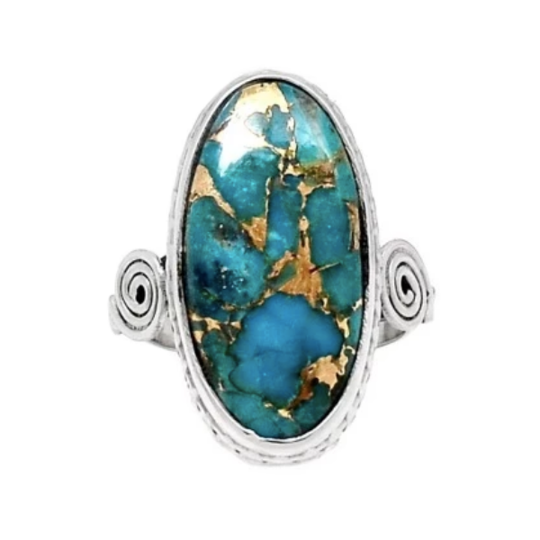 Natural Copper Turquoise, Gemstone Solid .925 Silver Sterling Ring Size 9 - BELLADONNA