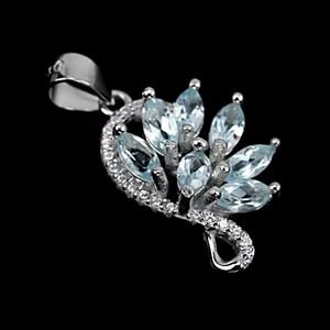 Top Grade Natural AAA Sky Blue Topaz, White Cubic Zirconia Solid .925 Sterling Silver Pendant - BELLADONNA