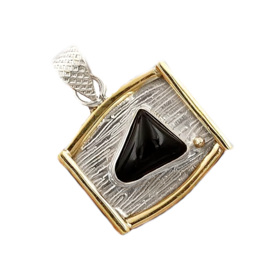 Two Tone Natural Black Onyx Solid .925 Sterling Silver Pendant - BELLADONNA