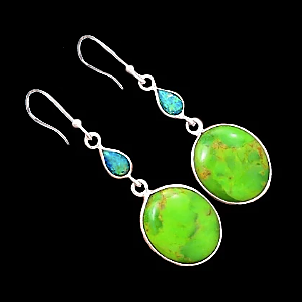 Natural Mohave Green Turquoise,Fire Opal Earrings Solid .925 Sterling Silver - BELLADONNA