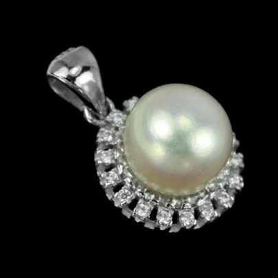 20.33 cts Deluxe Natural White Pearl Cz Solid .925 Sterling Silver Pendant - BELLADONNA