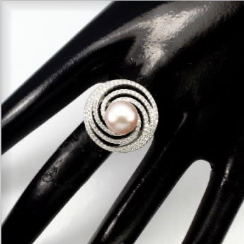 Deluxe Natural Freshwater Creamy Pink Pearl, White Cubic Zirconia Solid .925 Silver Size 8.5 - BELLADONNA