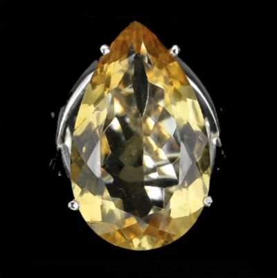 44,32 cts Natural Unheated Brazilian Citrine Pear Cut Solid .925 Silver Ring Size 8 - BELLADONNA