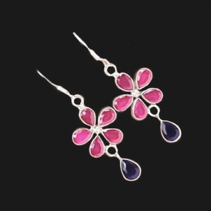 Floral Ruby, Sapphire Gemstone Solid .925 Sterling Silver Earrings - BELLADONNA