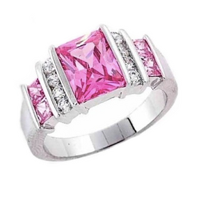 Pink And White Zirconia Solid.925 Sterling Silver Ring Size 10 - BELLADONNA