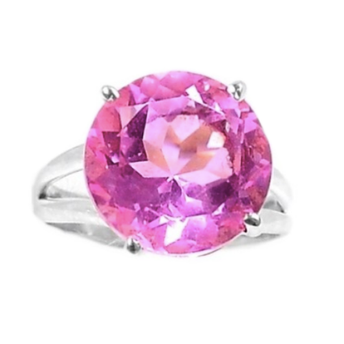 14 mm Faceted Round Pink Kunzite Solid.925 Sterling Silver Ring Size 10 - BELLADONNA