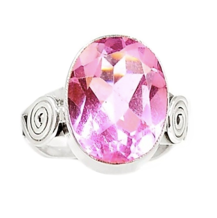 Faceted Oval Pink Topaz Solid.925 Sterling Silver Ring Size 9 - BELLADONNA