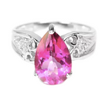 Stunning Portuguese Cut Pink Topaz Solid .925 Sterling Silver Ring Size 6.5 - BELLADONNA