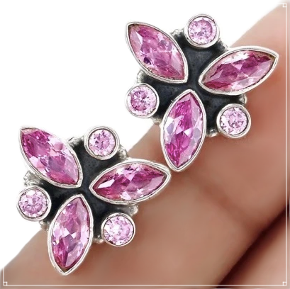Rare Faceted Pink Kunzite Solid .925 Sterling Silver Stud Earrings - BELLADONNA
