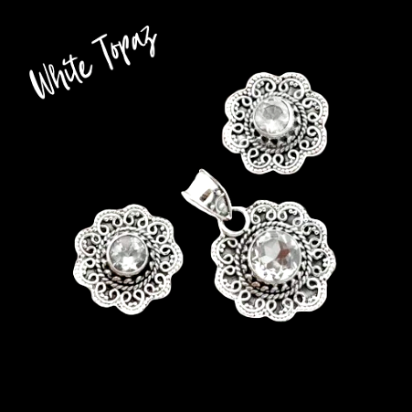 Natural White Topaz Solid .925 Sterling Silver Pendant & Earrings Set - BELLADONNA