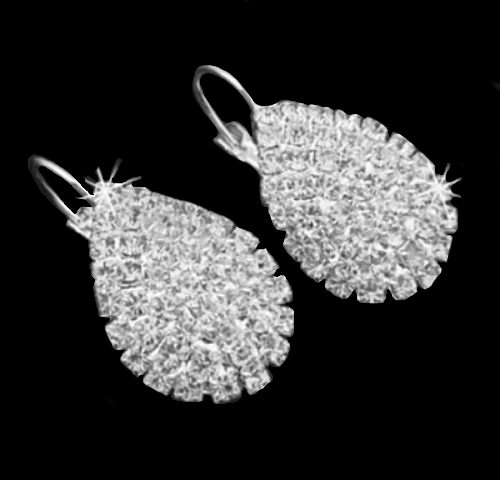 Rhinestone Bridal, Evening Wear Silver Alloy Stud/Leverback Earrings - BELLADONNA
