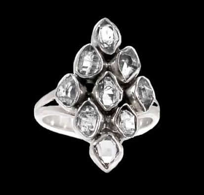 Real Stones Herkimer Diamond Solid Sterling Silver Ring Size 7 - BELLADONNA