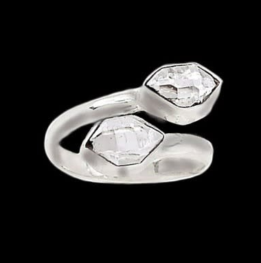 Real Stones Herkimer Diamond Solid Sterling Silver Ring Size 9 - BELLADONNA