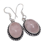 Natural Pink Rose Quartz Gemstone Silver Earrings - BELLADONNA