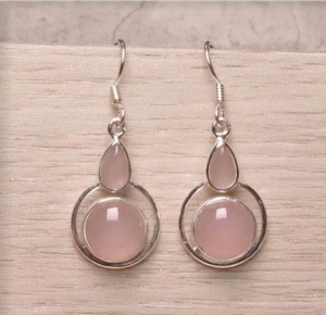 Natural Pink Rose Quartz Solid .925 Sterling Silver Earrings - BELLADONNA