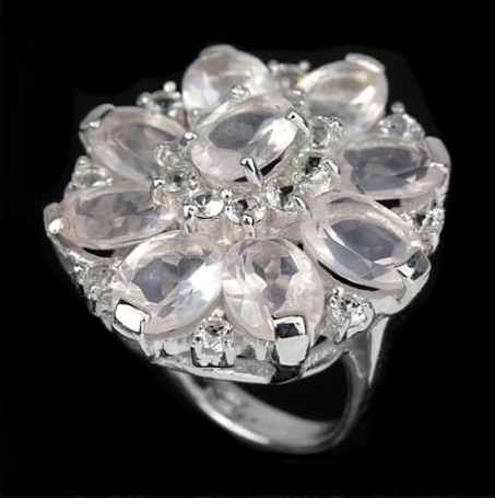 Natural Rose Quartz, Sparkly White Cubic Zirconia  Solid.925 Sterling Silver Ring Size 4.5 - BELLADONNA