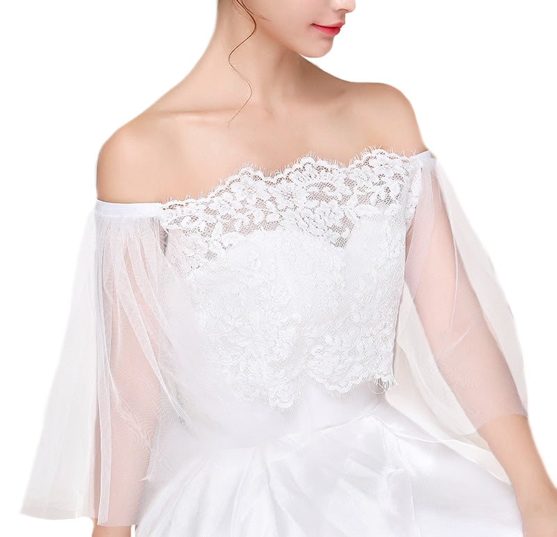 Off the Shoulder Lace Brides Dress Overlay with Sleeves - BELLADONNA