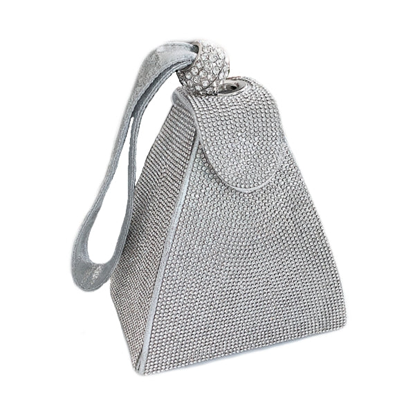 New Trend Womens Triangle Evening bag with Diamantès in Silver or Black