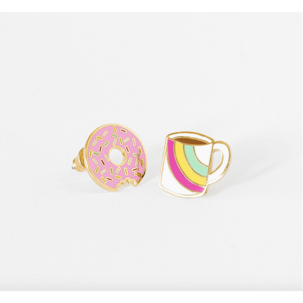 Enamel Coffee and Doughnut Earrings - Juniper Millbrook