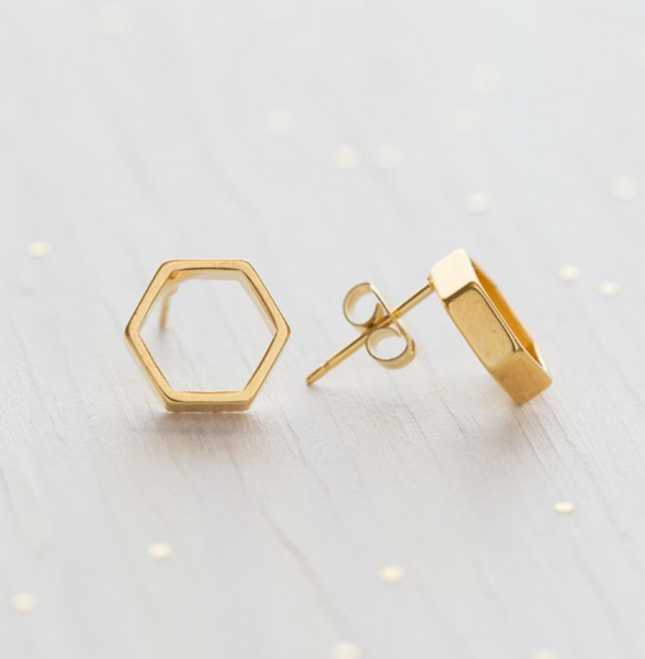 Hexagon Stud Earrings - Juniper Millbrook