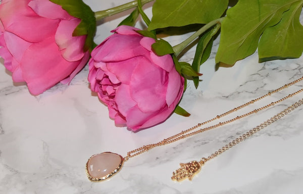 Natural Rose Quartz Necklace with a Protective Hamsa Hand