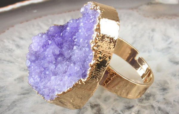 Natural Druzy Quartz Ring in 5 Color options
