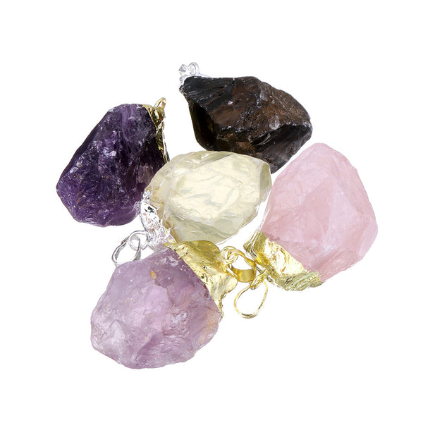Beautiful raw crystal pendants in Amethyst, Citrine and Rose Quartz, either Gold or Silver plated