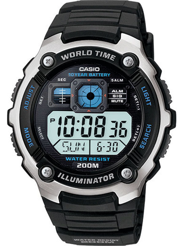 G-SHOCK WATER RESISTANT, MULTI-MISSION LCD, LC ANALOG AE2000W-1AV