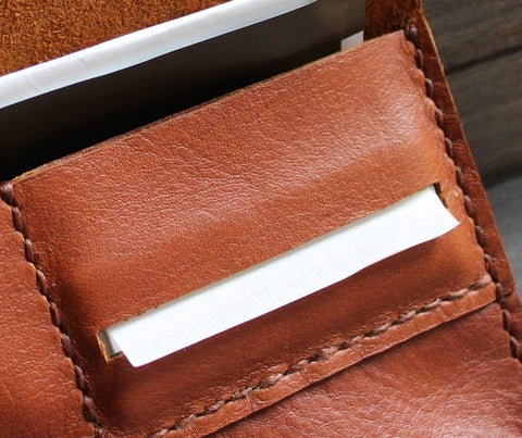 handmade leather tobacco pouch with rolling paper pocket