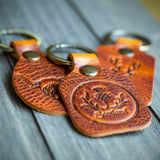dark tan leather handmade scottish thistle key chains