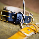 handcrafted full grain and vegetable tanned black leather dog collar