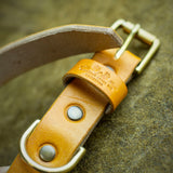 handcrafted full grain and oak bark tanned leather dog collar