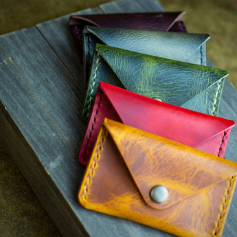 handcrafted colourful leather coin and card purses