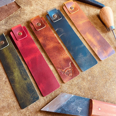 handcrafted full grain and vegetable tanned leather bookmarks