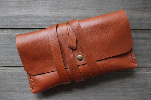 handmade tobacco pouch, tan leather