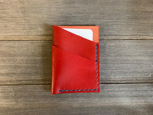 red 3 pocket card holder