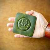 handmade green leather coaster from scotland