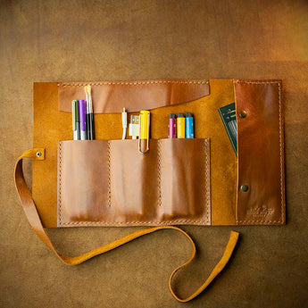 handcrafted full grain and vegetable tanned leather travel organiser