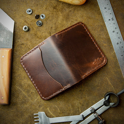handcrafted full grain and vegetable tanned leather card holder