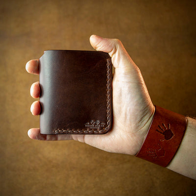 handcrafted full grain and vegetable tanned leather full size wallet