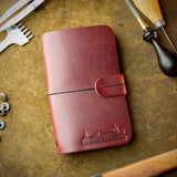 handmade burgundy leather moleskine cover from scotland