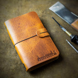 handcrafted vegetable tanned leather moleskine cover with edinburgh silhouette