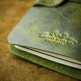 green leather handmade moleskine cover from scotland