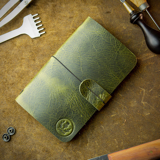 handmade green leather moleskine cover with scotland thistle