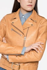 WOMEN'S NATURAL LEATHER MOTO JACKET