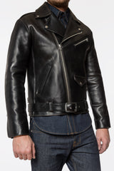 MEN'S BLACK LEATHER MOTO JACKET