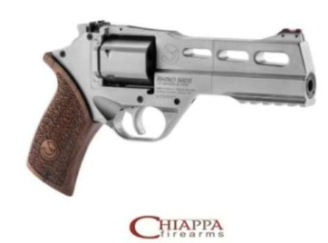 "Chiappa RHINO 5"" .357MAG REVOLVER 50DS CHROME 5IN BBL 3MOON CLIPS 6RND ADJ. REAR SIGHT (340.223)"